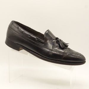ECCO Loafers Black Leather Wingtip Double Tassel